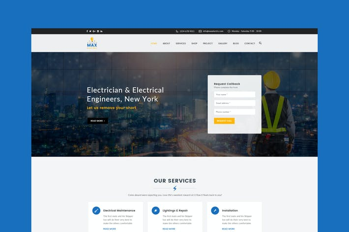 Thumbnail for Electric Website PSD Template