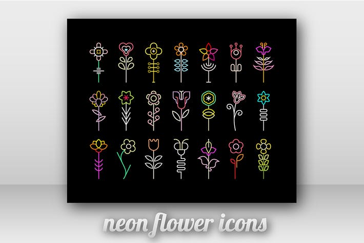 Thumbnail for Neon-Blumen-Vektor-Icons