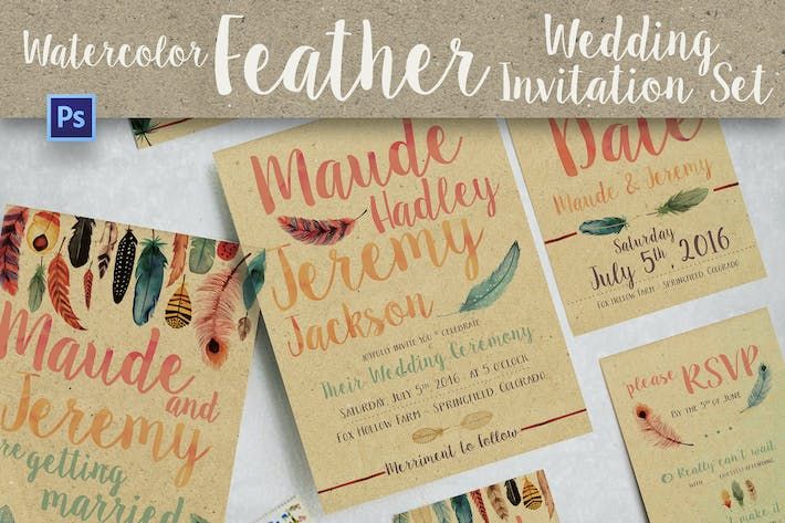 Thumbnail for Watercolor Feather Wedding Invitation