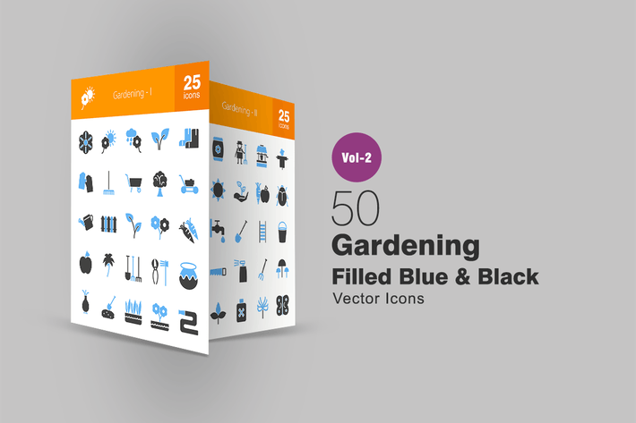 Thumbnail for 50 Gardening Blue & Black Icons
