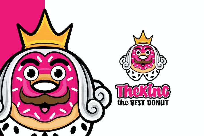 Thumbnail for The King Donut Logo Mascot Template