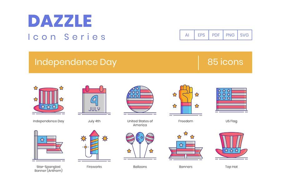 85 Unabhängigkeitstag Icons - Dazzle Serie