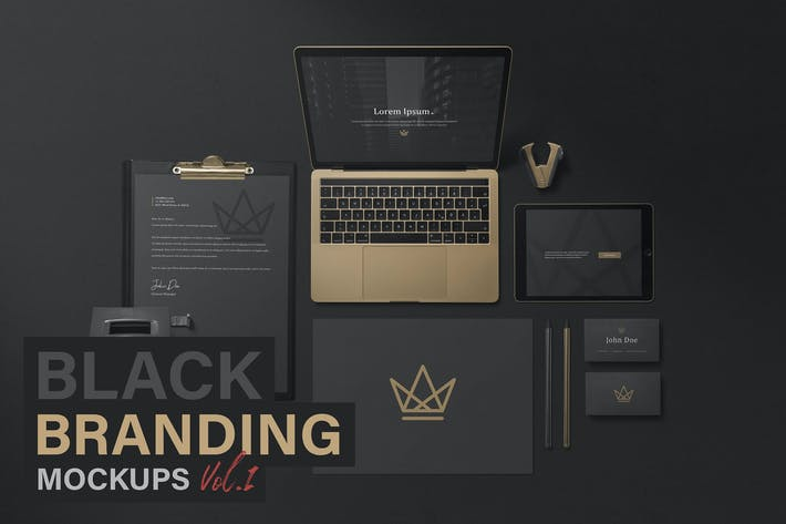 Thumbnail for Black Branding Mockups Vol.1
