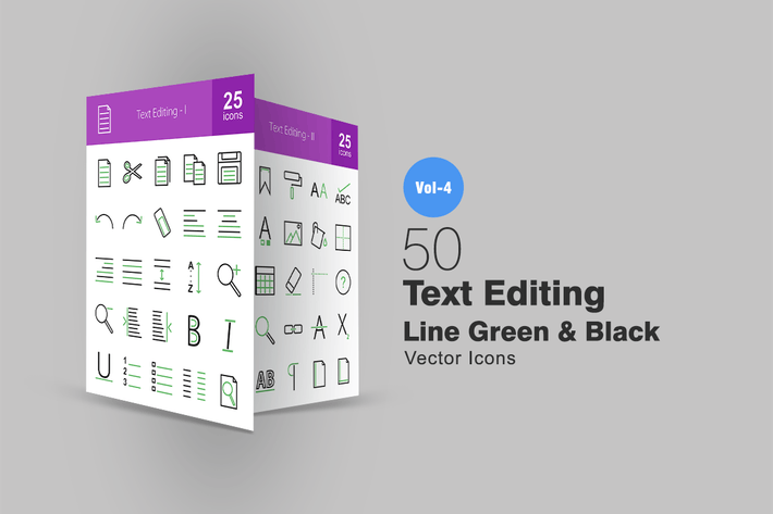 Cover Image For 50 Text Editing Line Green & Black Icons