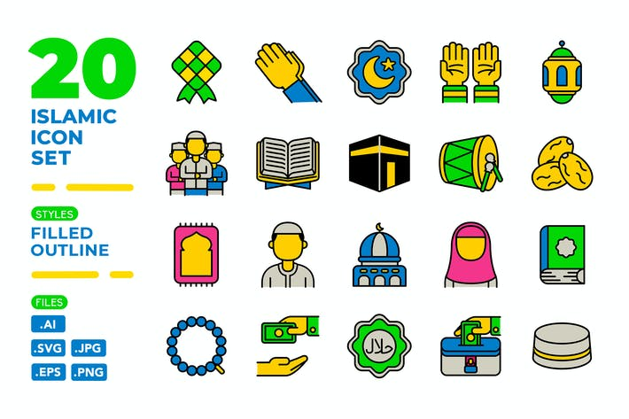 Thumbnail for Islamic Icon Set (Filled Outline)