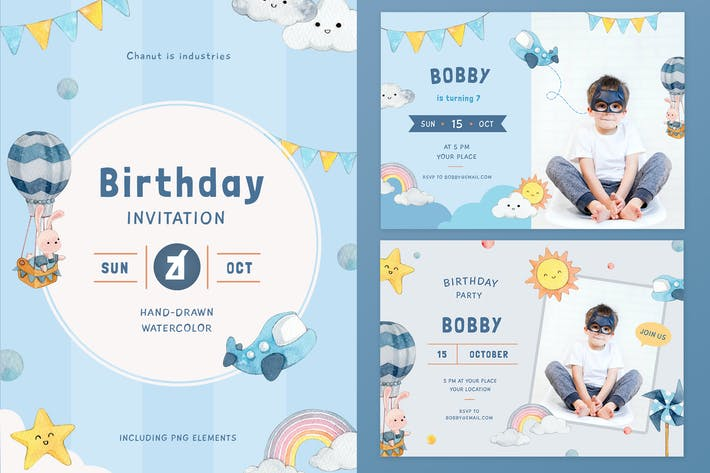 Thumbnail for Up in the sky theme birthday invitation card