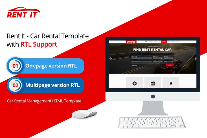 RentIt - Car Rental HTML Template with RTL Support