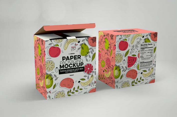 Thumbnail for Paper Box Tuck & Tongue Lock Mockup