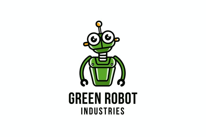 Thumbnail for Green Robot Logo Template