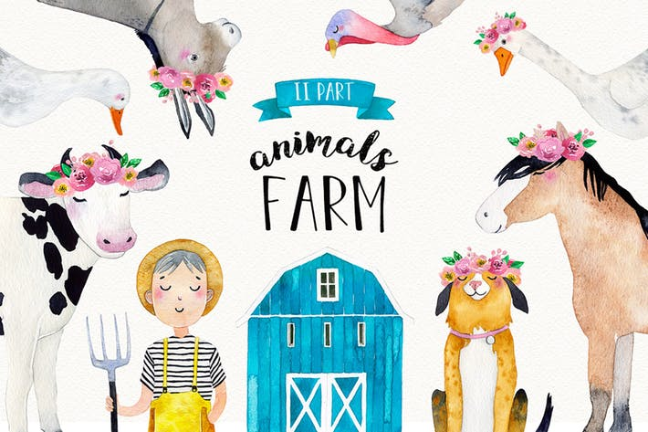 Thumbnail for FARM ANIMALS watercolor set PART 2
