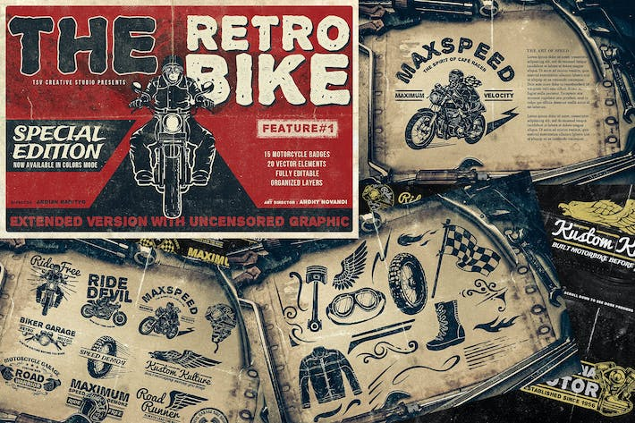 Thumbnail for Vintage Motorcycle Badges