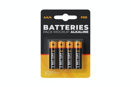 AA Battery Pack Mockup Template