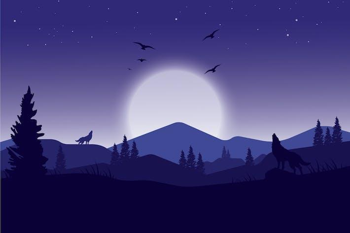 Heulende Wölfe - Landschaftsillustration