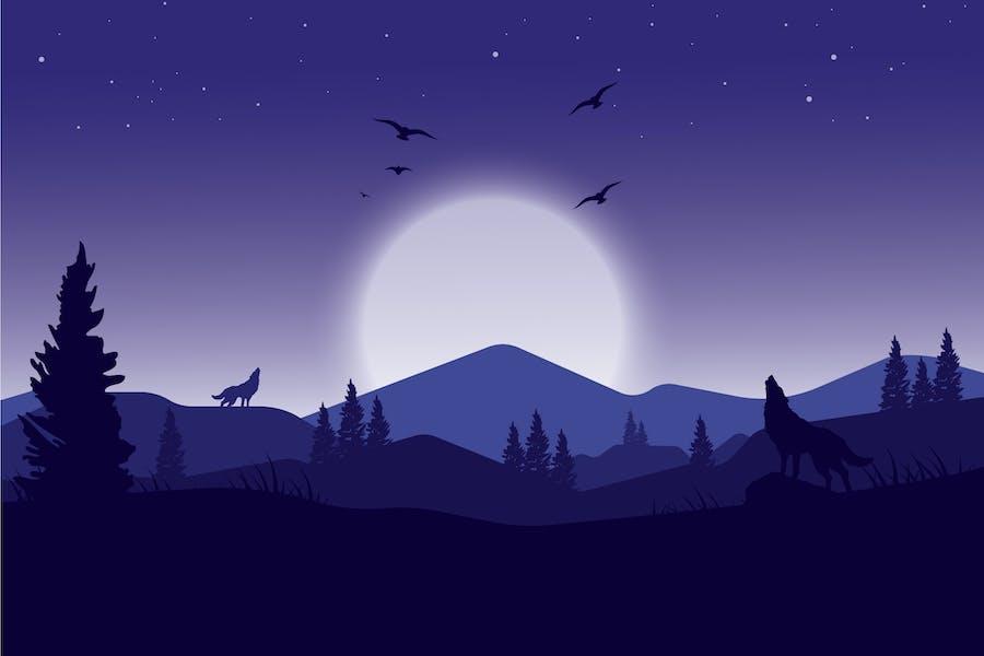 Howling Wolves - Landscape Illustration