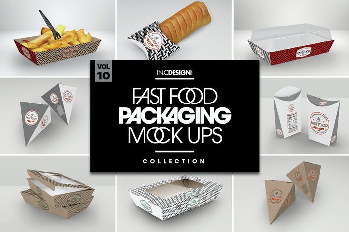 Thumbnail for Fast Food Boxes Vol.10: Take Out Packaging Mockups