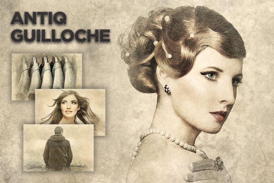 Antiq Guilloche Photoshop Action CS3+