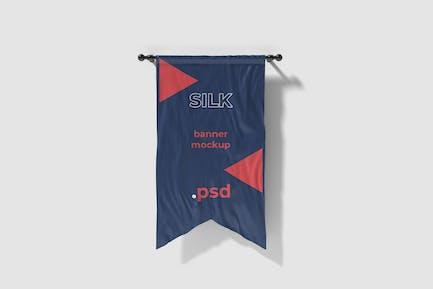 Cut in silk flag mockup
