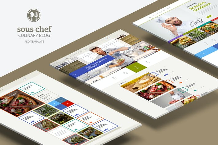 Thumbnail for Sous Chef — Unique Clean PSD for Culinary Blog