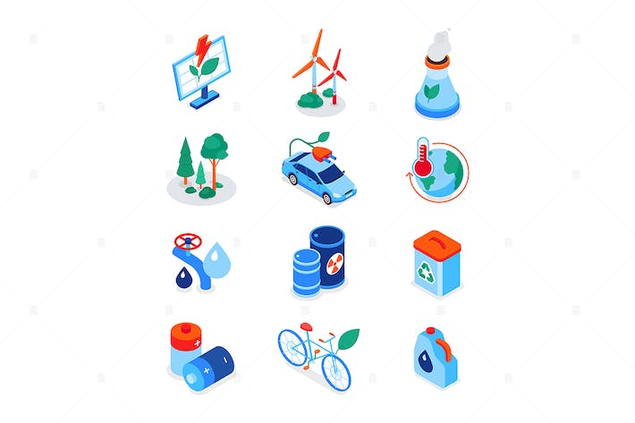 Thumbnail for Eco lifestyle - modern colorful isometric icons