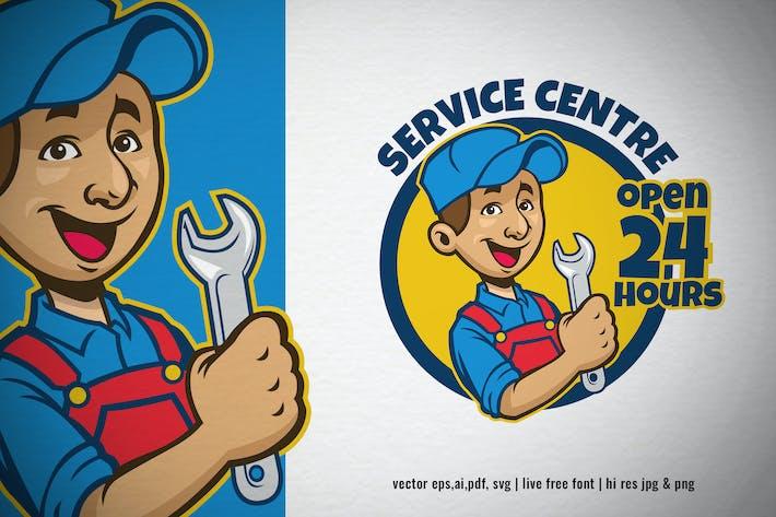Thumbnail for mechanic cartoon service centre logo