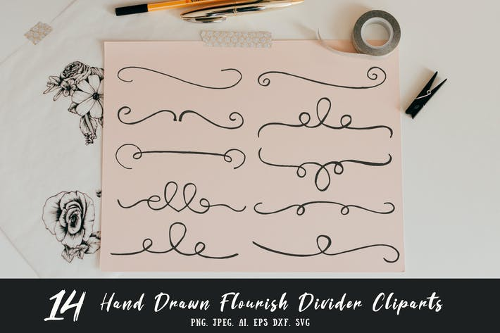 Thumbnail for Hand Drawn Flourish Divider Cliparts