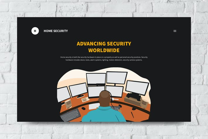 Home Security Web Header PSD and Vector Template