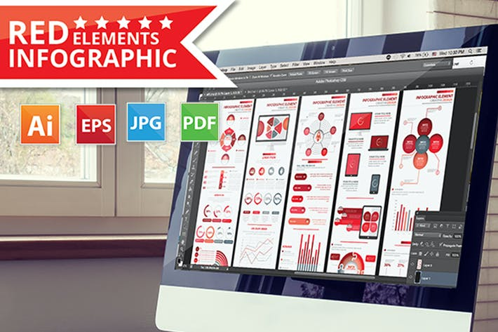Cover Image For Red Info Graphic Elements Design