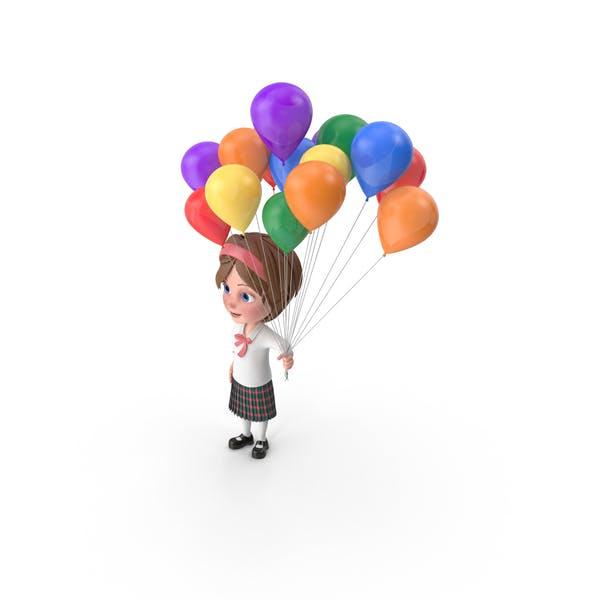 Thumbnail for Cartoon Girl Meghan Holding Balloons