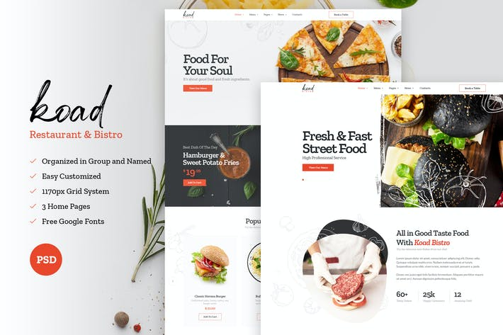 Thumbnail for Koad - Bistro & Restaurant PSD Template