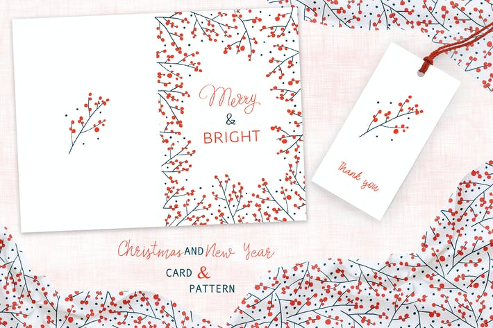 Thumbnail for Christmas Branches Greeting Card and Pattern