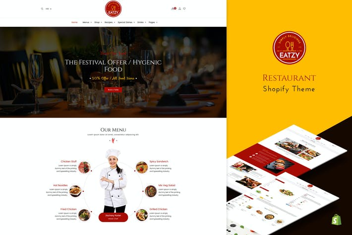 Thumbnail for Eatzy | Restaurant Sectionné Thème Shopify