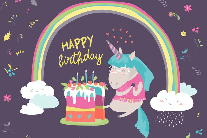 Thumbnail for Cute little unicorn celebrates birthday