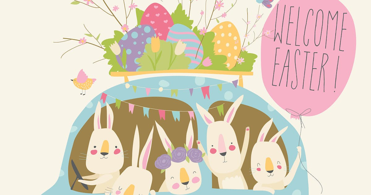 Download Cute cartoon bunnies driving a car with easter egg by masastarus