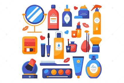 Makeup and cosmetics - set of flat elements