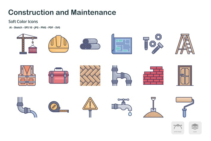 Thumbnail for Construction and maintenance soft color icons