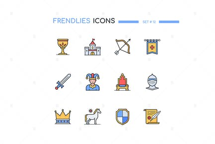 Medieval Period - Line Design Style Icons Set