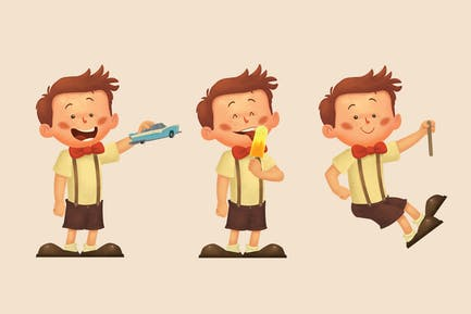 Little Boy Eating and Playing Character Set