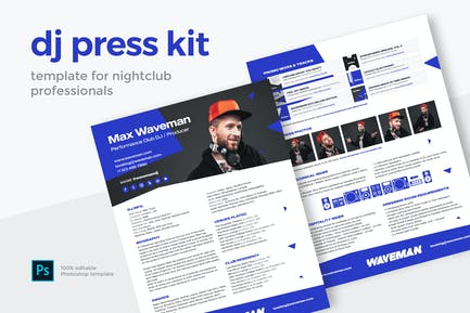 Modern DJ Press Kit / Resume / Rider Template