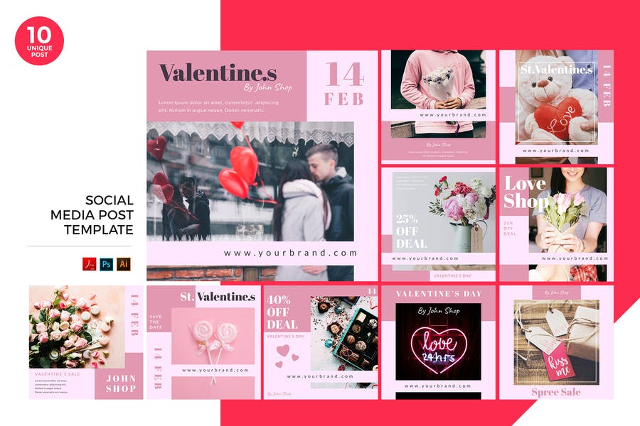 Valentine Day Sale Social Media Kit PSD & AI