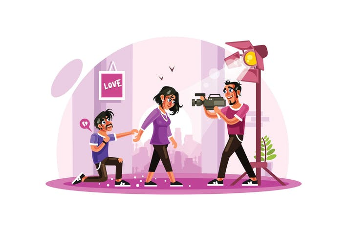 Romance Movie Scene Vector Illustration