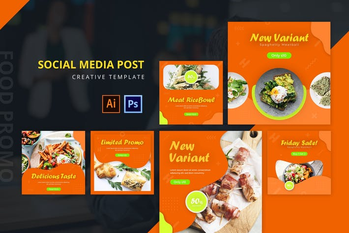 Thumbnail for Food Promotion Social Media Post Template