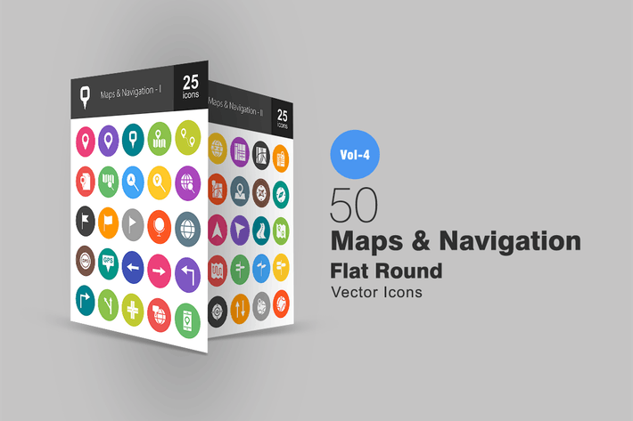 Thumbnail for 50 mapas y Íconos redondos planos de navegación