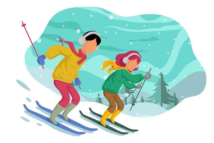 Thumbnail for Winter couple Skiing - illustration