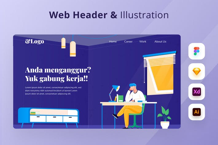 Thumbnail for Flat Illustration Web Header