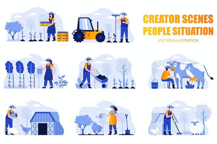 Набор персонажей сцены для фермерских людей