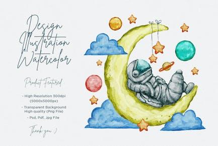 Astronaut Moon Watercolor Design Illustration