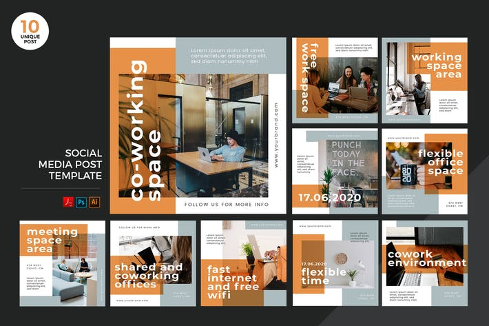Thumbnail for Coworking Space Social Media Kit PSD & AI