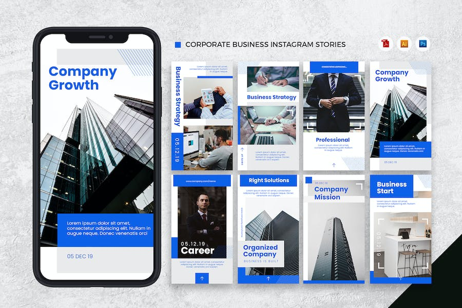 Corporate Business Instagram Stories AI and PSD