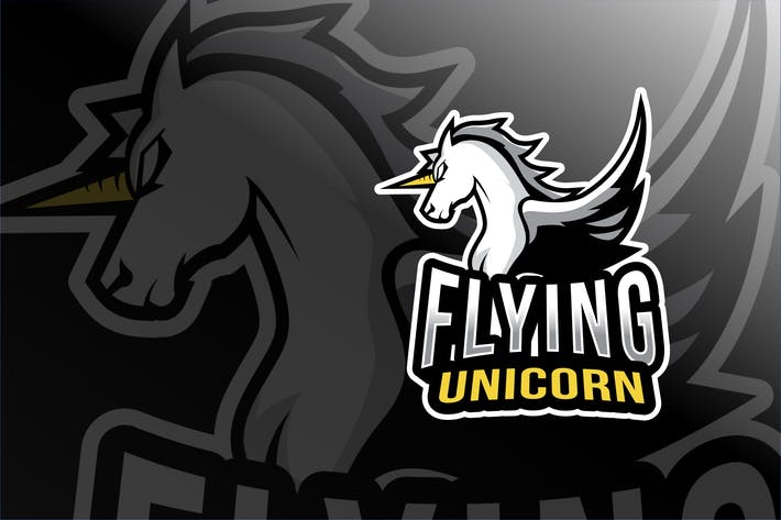 Cover Image For Flying Unicorn Esport Logo Template