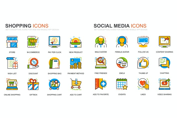 Thumbnail for Shopping and Social Media Line Icons Set